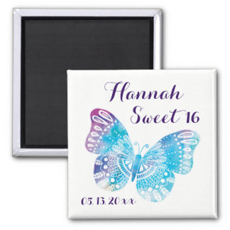 Sweet 16 Birthday Plum Blue Butterfly Dated Square Magnet