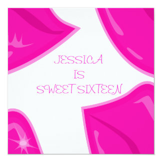 """Sweet 16 Birthday Pretty Pink Lips on White 5.25"""" Square Invitation Card"""