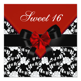Sweet 16  Birthday Red Black White Floral Bow Card