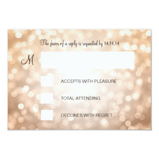 "Sweet 16 Birthday RSVP Copper Glitter Lights 3.5"" X 5"" Invitation Card"
