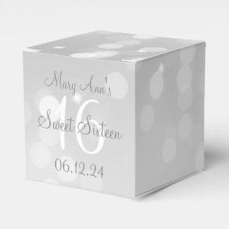 Sweet 16 Birthday Silver Bokeh Sparkle Light Favor Box