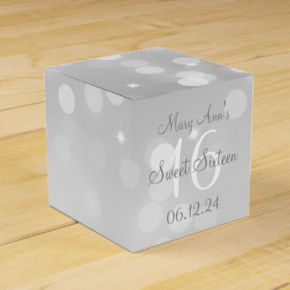 Sweet 16 Birthday Silver Bokeh Sparkle Light Wedding Favor Box