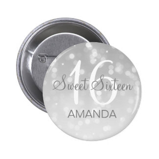 Sweet 16 Birthday Silver Bokeh Sparkle Lights 2 Inch Round Button