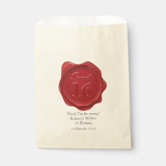 Sweet 16 Birthday Thank You Red Wax Seal Favour Bag