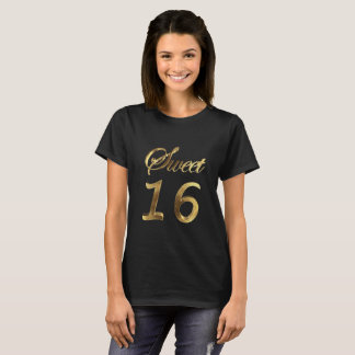 Sweet 16 Black and Gold Look Typography Elegant T-Shirt