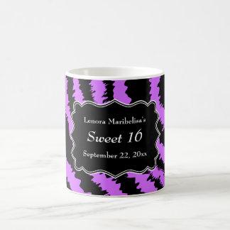 Sweet 16 Black and Purple Zebra Pattern Mugs