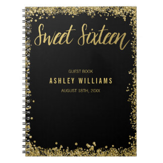 Sweet 16 Black Gold Faux Glitter Guest Book