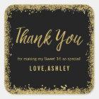 Sweet 16 Black Gold Glitter Birthday Favours Square Sticker