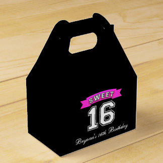 Sweet 16 Black & Pink Sports Birthday Party Favor Wedding Favor Boxes