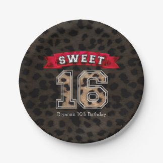 Sweet 16 Black & Pink Sports & Leopard Print Party 7 Inch Paper Plate