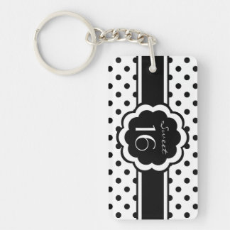 Sweet 16 Black Polka Dot Rectangle Acrylic Keychains
