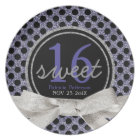 Sweet 16 Black Purple Black Polkadots Plate