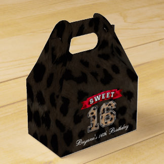 Sweet 16 Black & Red Leopard Print Party Favor Favor Boxes