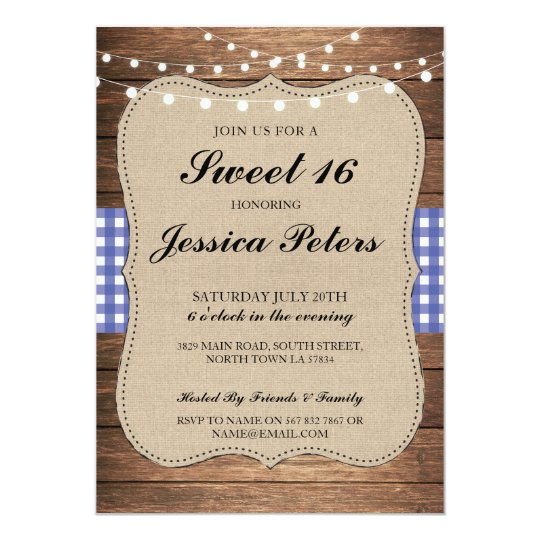 Sweet 16 Blue Check Lights Rustic Wood Invitation