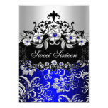 """Sweet 16 Blue Silver Black Floral Jewel Party 5"""" X 7"""" Invitation Card"""