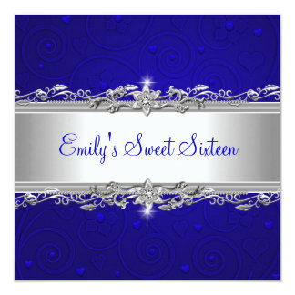 Sweet 16 Blue Silver Floral Love Birthday Party Card