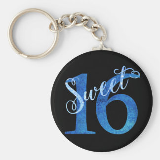 Sweet 16 Blue | Watercolor 16th Birthday Party Keychain
