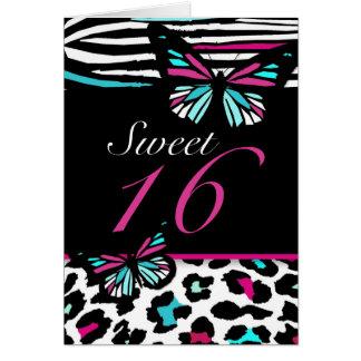 Sweet 16 Card Butterfly, Leopard & Zebra Print