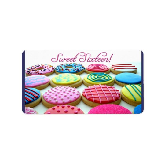 Sweet 16 cookie tray label
