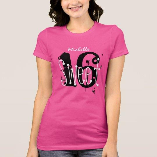 Sweet 16 Custom Name Birthday Gift Grunge Text V01 T-Shirt
