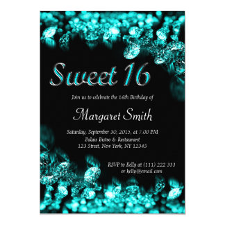 Sweet 16 Diamonds Turquoise Invitation
