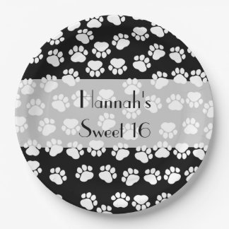Sweet 16 - Dog Paws, Paw-prints - Black White Paper Plate