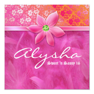 Sweet 16 Feather Boa Lace Floral Pink Card