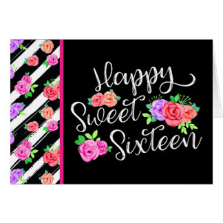 Sweet 16 Girl Edgy Roses & Modern Stripes Birthday Card