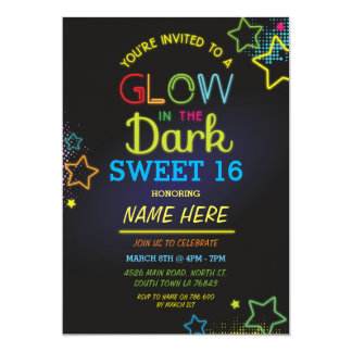 Sweet 16 Glow In The Dark Birthday Neon Party Card