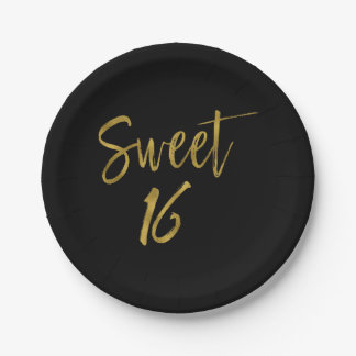 Sweet 16 Gold Foil Birthday Paper Plate