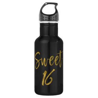 Sweet 16 Gold Foil Birthday Water Bottle