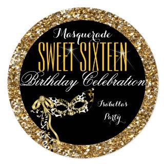 Sweet 16 Gold Glitter Mask Masquerade Birthday Card