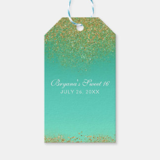 Sweet 16 Gold Glitter & Teal Birthday Party Favor Gift Tags