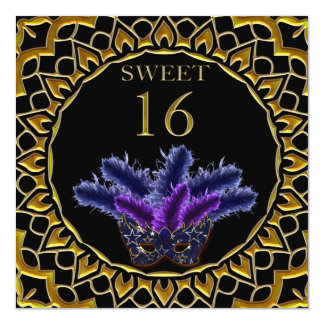 """Sweet 16 Golden Masquerade Party 5.25"""" Square Invitation Card"""