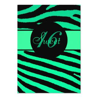 Sweet 16 green black zebra stripe birthday invites