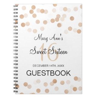Sweet 16 Guestbook Faux Copper Foil Glitter Lights Spiral Notebooks