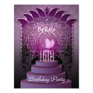 "sweet 16 heart lilac teen birthday 4.25"" x 5.5"" invitation card"