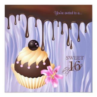 Sweet 16 Invitation Chocolate Cupcake Purple