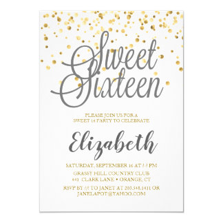 Sweet 16 Invitation (Grey, White, and Gold Dots)