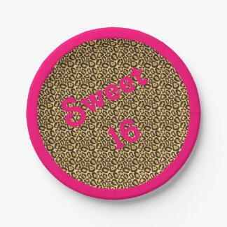 Sweet 16 Jaguar Print w/ Pink Border Paper Plate