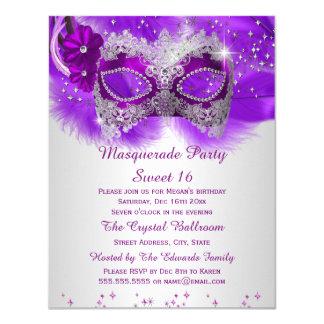 "Sweet 16 Lace Mask Purple Silver Masquerade 4.25"" X 5.5"" Invitation Card"