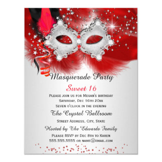 """Sweet 16 Lace Mask Red Silver Masquerade 4.25"""" X 5.5"""" Invitation Card"""