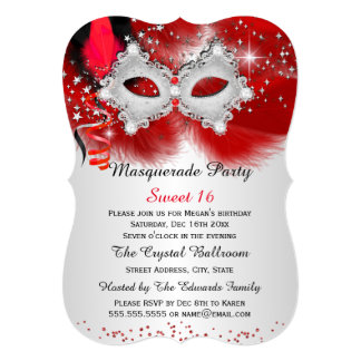 """Sweet 16 Lace Mask Red Silver Masquerade 5"""" X 7"""" Invitation Card"""