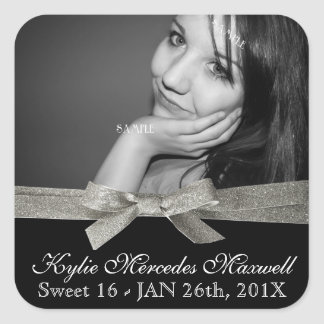 Sweet 16 Large Photo with Silver Glitter Ribbon Square Sticker