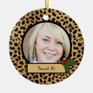 Sweet 16 Leopard Print Christmas Ornament