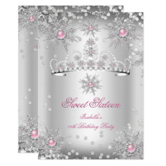 Sweet 16 Light Pink Silver Winter Wonderland Card