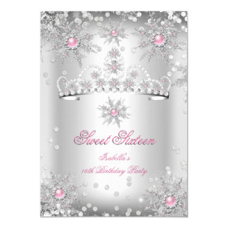 Sweet 16 Light Pink Silver Winter Wonderland Card