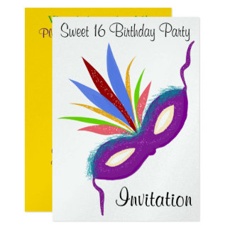 Sweet 16 Masquerade Ball Purple Party Mask Card