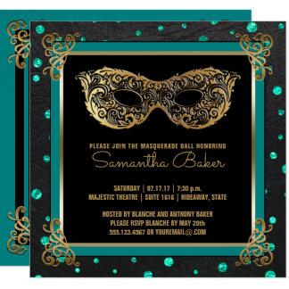 Sweet 16 Masquerade Ball Sweet Sixteen Teal Gold Card