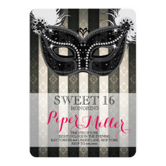 """Sweet 16 Masquerade Feather Black and White 5"""" X 7"""" Invitation Card"""